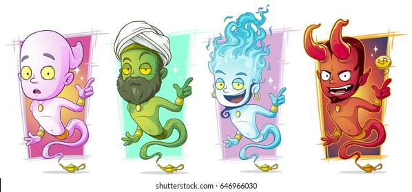 Cartoon different magic jinns with lamp character vector set