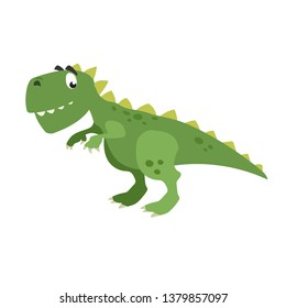 Cartoon dinasour t-rex. Flat cartoon style tyrannosaurus drawing. Best for kids dino party designs. Prehistoric Jurassic period character. Vector illustration isolated on white.