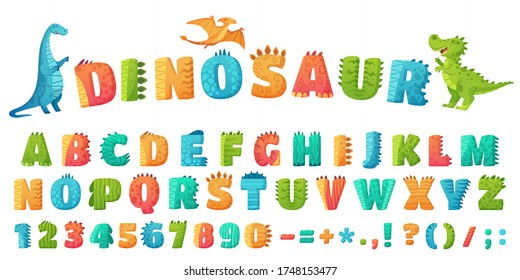 Cartoon dino font. Dinosaur alphabet letters and numbers, funny dinos letter signs for nursery or kindergarten kids vector illustration set. Alphabet dinosaur, abc kids letter typography