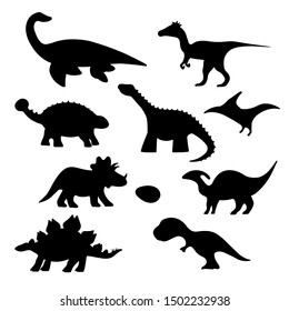 Cartoon dino silhouette collection for kids clipart. Vector isolated dinosaur stickers set for prints.