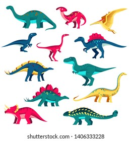 Cartoon dinosaur characters set. Vector colorful flat illustration. Cute dino collection, kids design elements isolated on white background.