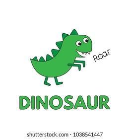 Cartoon dinosaur flashcard. Vector illustration for children education