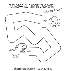 Cartoon dinosaur game for small children - draw a line. Vector coloring book pages for kids