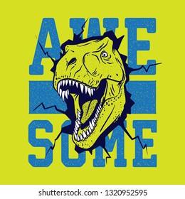 Cartoon dinosaur illustration, vector. T shirt graphic design for kids