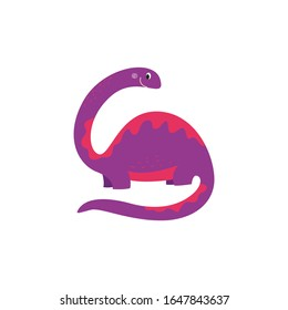 Cartoon dinosaur with long neck and tail, drawing of cute purple brontosaurus with funny smile, large hand drawn extinct reptile animal for kids isolated on white background. Vector illustration.
