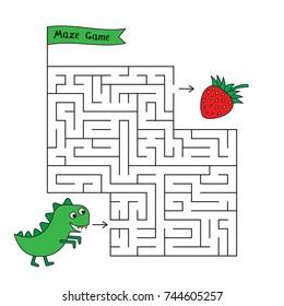 Cartoon dinosaur maze game. Funny game for children education