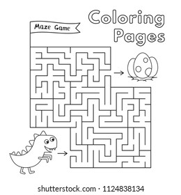 Cartoon dinosaur maze game. Vector coloring book pages for children