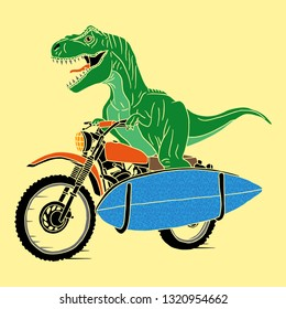 Cartoon dinosaur with motorcycle illustration, vector. T shirt graphic design for kids