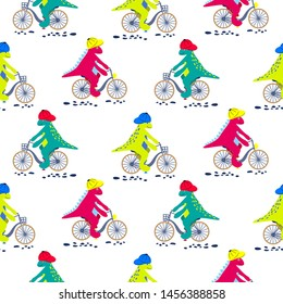 Cartoon dinosaur on bikes seamless pattern. Dino child cute characters riding bicycles vector on white background.