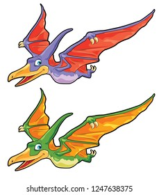 Cartoon Dinosaur Pteranodon flying with 2 color scheme