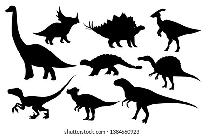 Cartoon dinosaur set. Cute dinosaurs icon collection. Black silhouette predators and herbivores. Flat vector illustration isolated on white background.