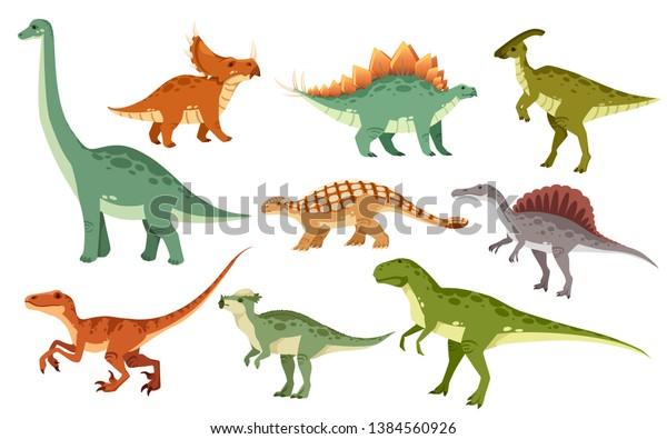 Vector De Stock Libre De Regalias Sobre Conjunto De Dinosaurios De Dibujos Animados 1384560926 Imágenes animadas de dinosaurios en la categoría de animales terrestres. https www shutterstock com es image vector cartoon dinosaur set cute dinosaurs icon 1384560926