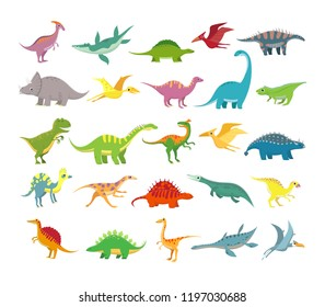 Cartoon dinosaurs. Baby dino prehistoric animals. Cute dinosaur, jurassic period animal stegosaurus brachiosaurus, trex and pterosaurs.