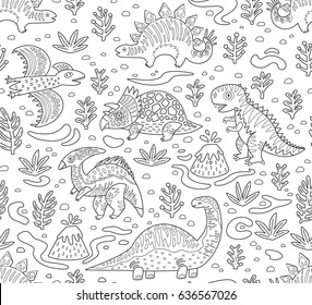 Cartoon Dinosaurs Seamless Pattern In Outline Hand Drawn Vector Illustration Coloring Page