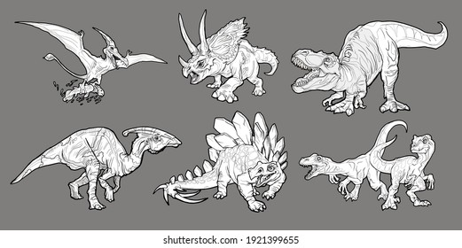 Cartoon dinosaurs set. Realistic dinosaurs collection. Colored predators and herbivores. coloring page, hand drawn illustration. Vector illustration isolated on gray background