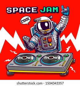 cartoon dj astronaut illustration tee shirt wallpaper logo poster print graphic design