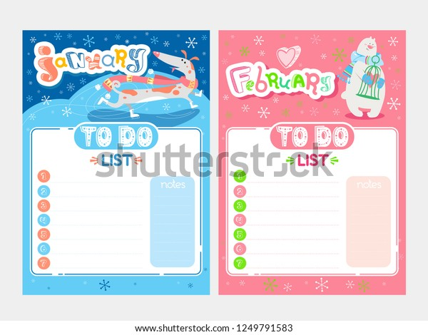 Cartoon Do List Design Vector Doodle Stock Vector (Royalty