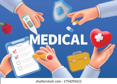 Cartoon doctor hands with apple, heart shape, and other medical devices, concept of health care service, 3D illustration