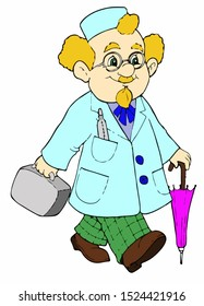 Cartoon doctor in isolate on a white background. Vector illustration.