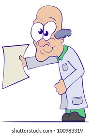 Cartoon Doctor in a Lab Coat Holding a Blank Sheet of Paper