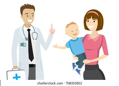 Cartoon doctor and mother with child,isolated on white background,vector illustration