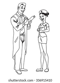 Cartoon doctor and nurse vector illustration