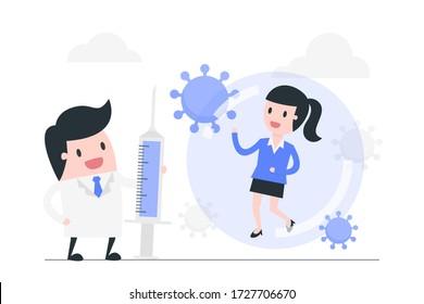 Cartoon doctor and patient with Coronavirus vaccine. Fight against coronavirus concept illustration.