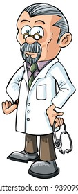 Cartoon doctor in white coat. Isolated on white