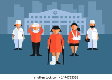 Cartoon doctors and patients with broken arm, leg and neck. Hospital building on the background. Vector illustration