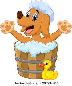 Cartoon Dog bathing time