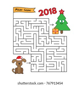Cartoon dog and christmas tree maze game. Funny christmas game for children education