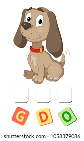 Cartoon dog crossword. Put the letters in the correct order