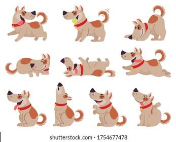 Cartoon dog. Cute dogs in daily routine eating, jumping wiggle and sleeping, running and barking, playing with ball. Puppy pet in different poses doing activities set vector illustration.