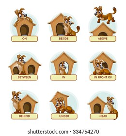 Cartoon dog in different poses to illustrate English prepositions of place. Vector illustration for preschool kids. Animal pet, booth and domestic, place and mammal breed illustration
