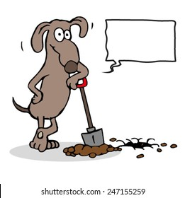 Cartoon dog digging a hole with shovel and resting