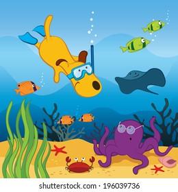 Cartoon dog diving in the ocean