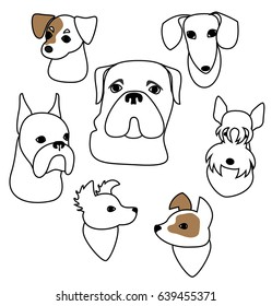 Cartoon dog faces set Jack Russel Terrier, dachshund, Bullmastiff, boxer, Scottie, two mongrels