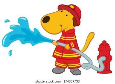 Cartoon Dog Firefighter