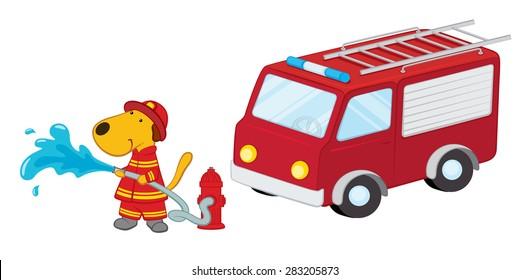 Cartoon Dog Firefighter with a Fire Truck