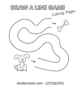 Cartoon dog game for small children - draw a line. Vector coloring book pages for kids