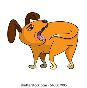 Cartoon dog getting ready to catch it's own tail