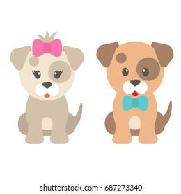 cartoon dog girl and boy
