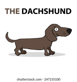 Cartoon dog, happy dachshund