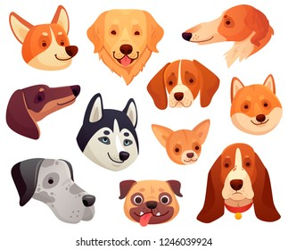 Cartoon dog head. Funny puppy pet muzzle, smiling dog face and pug, retriever husky corgi dogs. Cute playful pets character faces with tongue isolated vector illustration icons collection