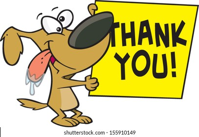 Cartoon dog holding a sign that says thank you