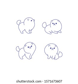 Cartoon dog icon set. Different poses of pomeranian. Vector illustration for prints, clothing, packaging, stickers.