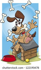 Cartoon dog juggling bones on top of his dog house