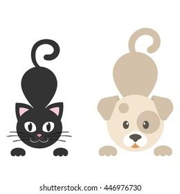 cartoon dog with kitty vector