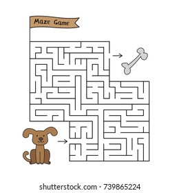 Cartoon dog maze game. Funny game for children education