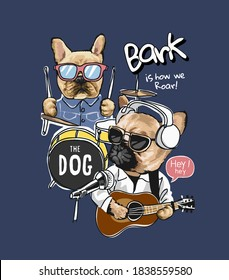 cartoon dog with music instruments illustration